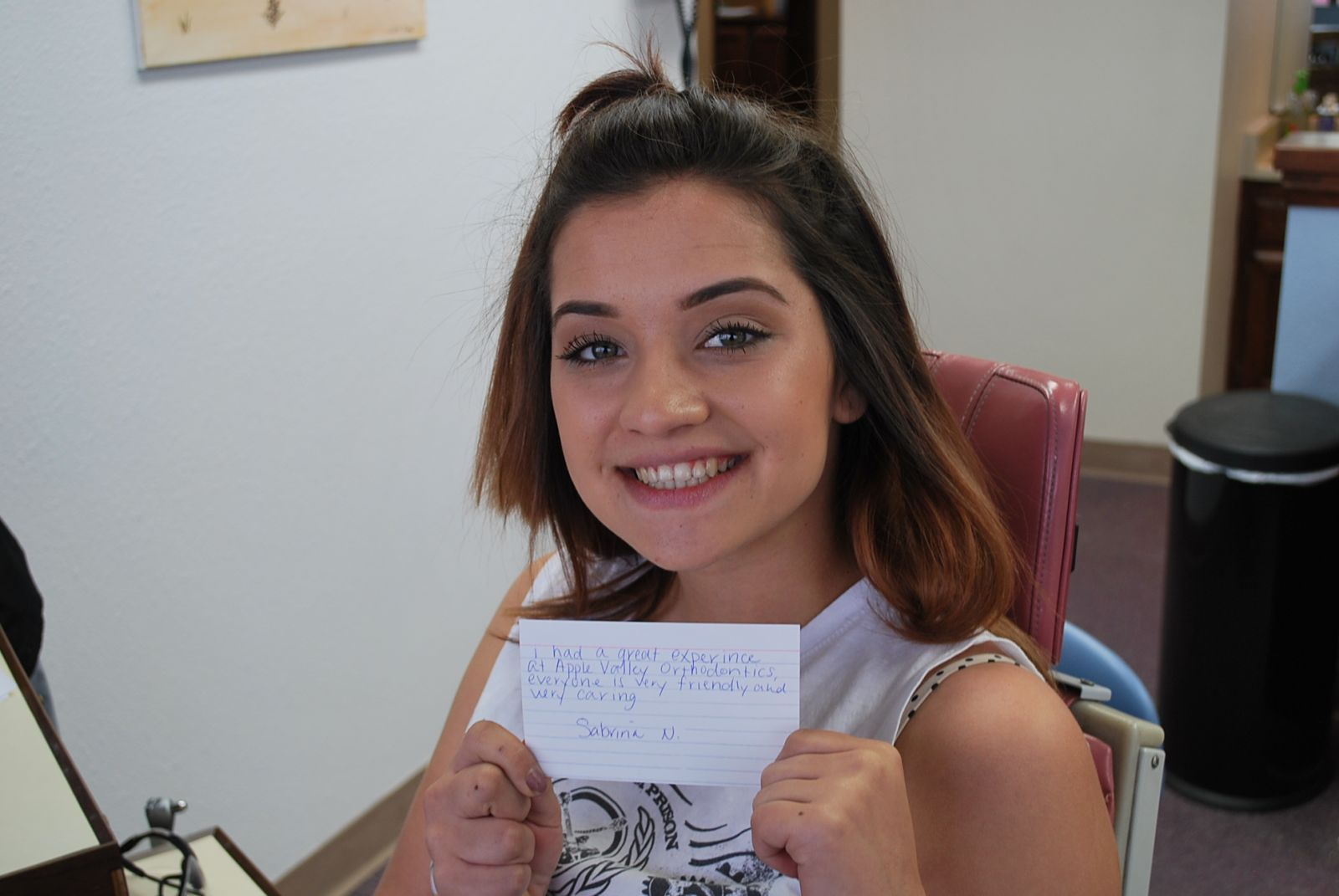 Apple Valley Orthodontics satisfied patient after braces removal.